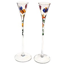 2 Butterfly Cordials Liqueur Crystal Glasses Handcrafted w/ 24 KG