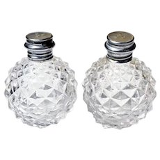 Vintage Clear Glass Hobnail Diamond Salt & Pepper Shakers