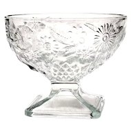 Indiana Depression Glass Pineapple & Floral Pedestal Dessert Dish