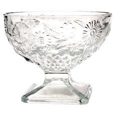 Indiana Depression Glass Pineapple & Floral Pedestal Dessert Dish
