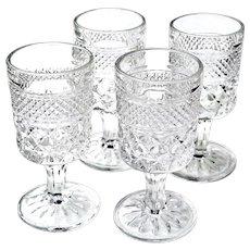 4 Vintage Anchor Hocking Wexford 2 oz Cordial Liqueur Glasses