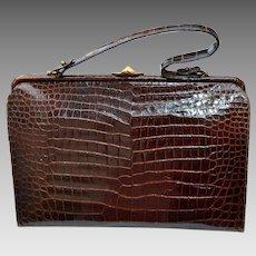 Vintage Prestige Brown Alligator Handbag Purse 1960