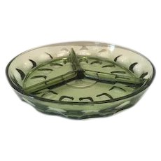 Hazel Atlas Glass Thumbprint Pattern 3 - Section Relish Dish in Avocado
