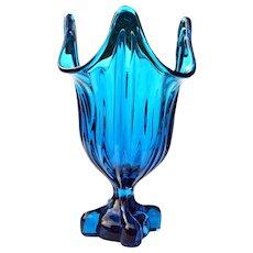 Viking Glass Teal Footed Vase Napkin Holder