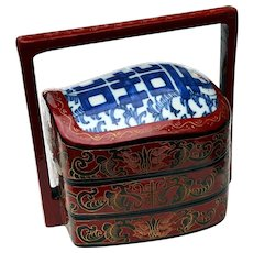 Vintage Chinese Wedding / Lunch / Bento Lacquer Box w/ Porcelain Top