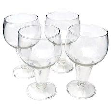 4 Hollow Stemmed Beer Glasses for Lager, Ale, Craft Beer Vintage 1950s