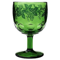Vintage Bartlett and Collins Olive Green Grape Etched Thumbprint Goblet