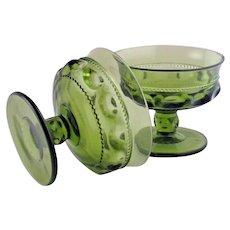 6 Green Kings Crown Thumbprint Glass Pedestal Bowls Indiana Glass