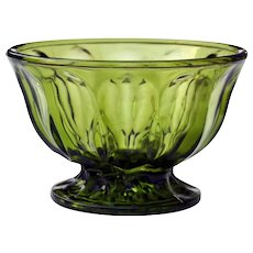 Anchor Hocking Fairfield Green Glass Pedestal Bowl