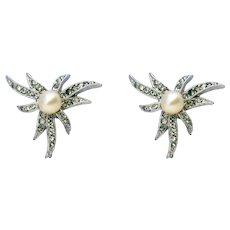Marvella Vintage Faux Pearl & Rhinestone Earrings 1940s