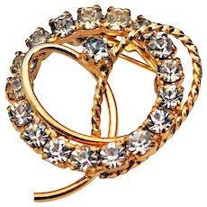 Vintage Rhinestone Pin Brooch - Circle Pin w/ a Heart!