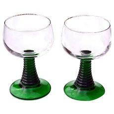 2 Vintage Green Ribbed Coiled Stemmed Liqueur / Cordial / Sherry Glasses