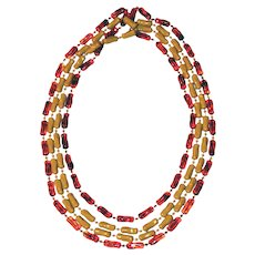 2 Connected 54 inch Strands of Butterscotch & Cognac Amber Necklace