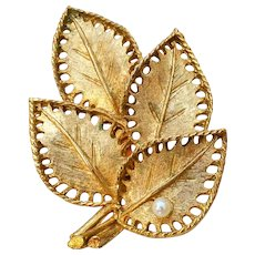 Textured Gold Tone Leaf Pin w/ Small Faux Pearl