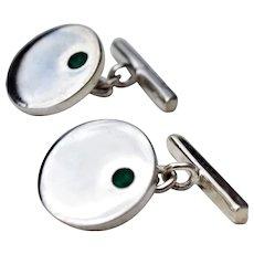 Sterling Silver Cufflinks w/ Emeralds