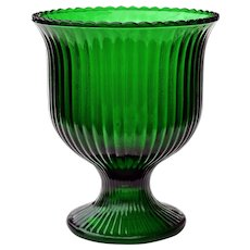 Vintage EO Brody & Co. Emerald Green Ribbed Pedestal Glass Bowl Vase Centerpiece