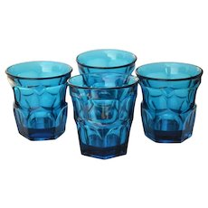 Vintage Teal Geometric Glasses Tumblers Double Old Fashioned