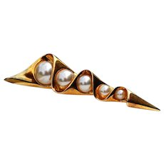 Vintage Gold Tone Faux Pearls Pin Brooch by Lady Remington