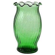 Vintage Green Glass Swirl Ribbed Vase w/ Ruffled Rim