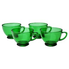 4 Vintage Anchor Hocking Green Glass Punch or Tea Cups
