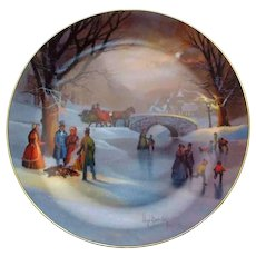 Holiday Skaters Collectors Plate by Artist Lloyd Garrison 1987