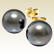 7.7 mm Silver Gray Cultured Pearl Earring Studs