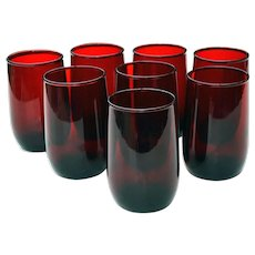 8 Ruby Red Depression Glass 4 oz Tumblers Juice Glasses