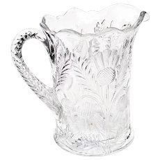 Vintage Clear Pressed Glass Pitcher Inverted Thistle by Mosser Glass