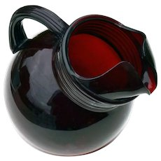 Anchor Hocking Ruby Red Depression Glass Tilted Ball Style Pitcher