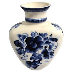 Gzhel Vase Blue & White Handcrafted Russian Porcelain