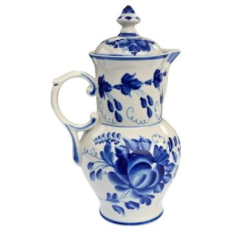 Gzhel Blue and White Porcelain Handcrafted Kvass/ Coffee Server