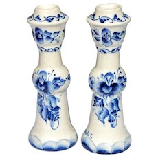 Handcrafted Blue & White Gzhel Porcelain Candlestick Holders