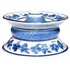 Gzhel Handcrafted Blue & White Russian Porcelain Candle Holder