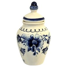 Gzhel Jar w/ Lid Blue & White Russian Porcelain Signed by Artist