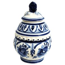 Small Gzhel Honey Jar w/ Lid Blue & White Russian Porcelain