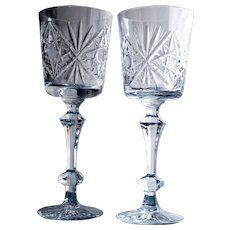 2 NEW Vintage Crystal Goblets Gus Khrustalny Etched Russian Lead Crystal