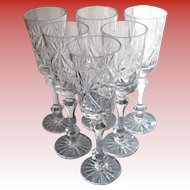 6 Crystal White Wine/ Champagne Glasses Gus Khrustalny Etched Russian Lead Crystal