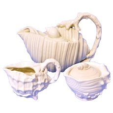 Vintage Fitz & Floyd Ocean Conch Sea Shell Teapot Creamer Sugar Set