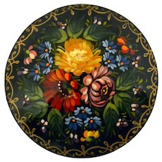 Vintage Hand Painted Russian Floral Lacquer Brooch Signed 1993
