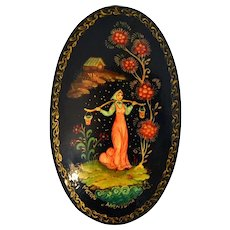Handcrafted Wooden Russian Lacquer Mystera Style Brooch