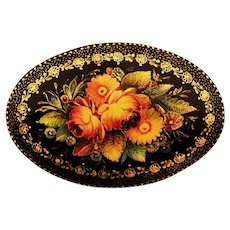 Handcrafted Floral Wooden Russian Lacquer Mystera Brooch Signed
