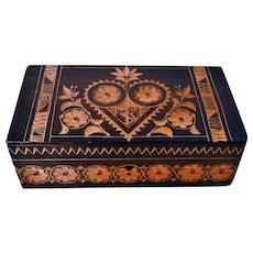 Vintage 1948  Russian Ukrainian  Handcrafted/ Carved Wood Trinket Keepsake Box