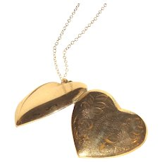 10K Gold Filled Heart Shaped Double Photo Locket 18 Inch Chain