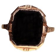 Antique Black Onyx Ring 10K Yellow Gold Unisex
