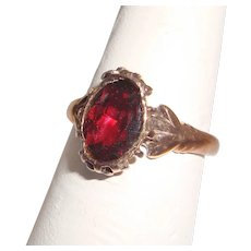 Victorian Rose Gold Garnet Solitaire Ring