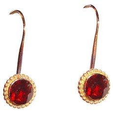 14K Yellow Gold Earrings Garnet Drops