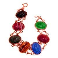 Estate 14K Scarab Bracelet Genuine Stones