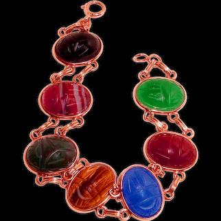 Big 14K Gold Scarab Bracelet Carved Gemstones Egyptian Revival