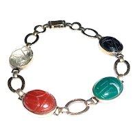 Art Deco Gemstone Scarab Bracelet 14K on Sterling WRE Symmetalic
