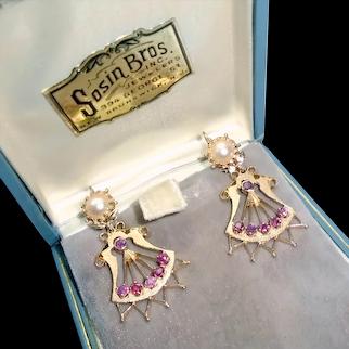 14K Victorian Earrings Genuine Rubies Pearl Appraisal